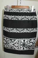 Fashion decorative pattern black and white jacquard half-skirt autumn and winter