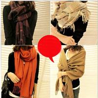 Winter Woman Warm Scarf Shawl Dual Long Plaid Scarves Imitation Cashmere Scarves Women Free Shipping