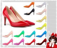9 CM Vintage Sexy Red Bottom Pointed Toe High Heels Women Pumps Shoes 2014 Brand New Design Less Platform Pumps Tip  LDM110