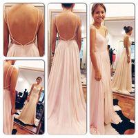 Sexy Backless Maxi Dress Spaghetti Straps V Neck Pink Open Back Prom Dress 2014 Chiffon Evening Dresses long ZY1136