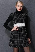 2015 new vintage winter women silm plaid short sleeve O neck lace waist casual dress women clothing fashion plus size XL-5XL