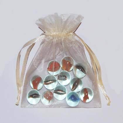 50 Cream jewelry wedding organza gift bags 8 x 11 cm(China (Mainland))