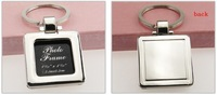 5pcs/lot zinc-alloy blank frame keychain metal keyring square shaped can be turned cover, diy yourself photo keychain