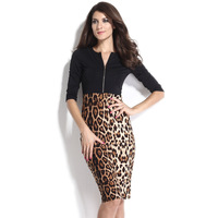 Autumn winter 2014 New woman's fifth sleeve black leopard print patchwork hip slim one-piece dress 6723