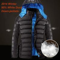 2014 Famous Brand Winter Duck Down Jacket Men 90% White Duck Down-jackets Detachable hood Down Coat man+ Free Shipping