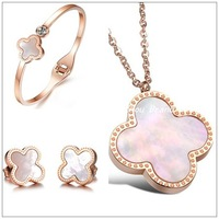 Lucky Four Leaf Clover Jewelry Sets Stainless Steel Rose Gold&Natural Shell Bracelet/Stud Earrings/Pandants Necklaces For Women