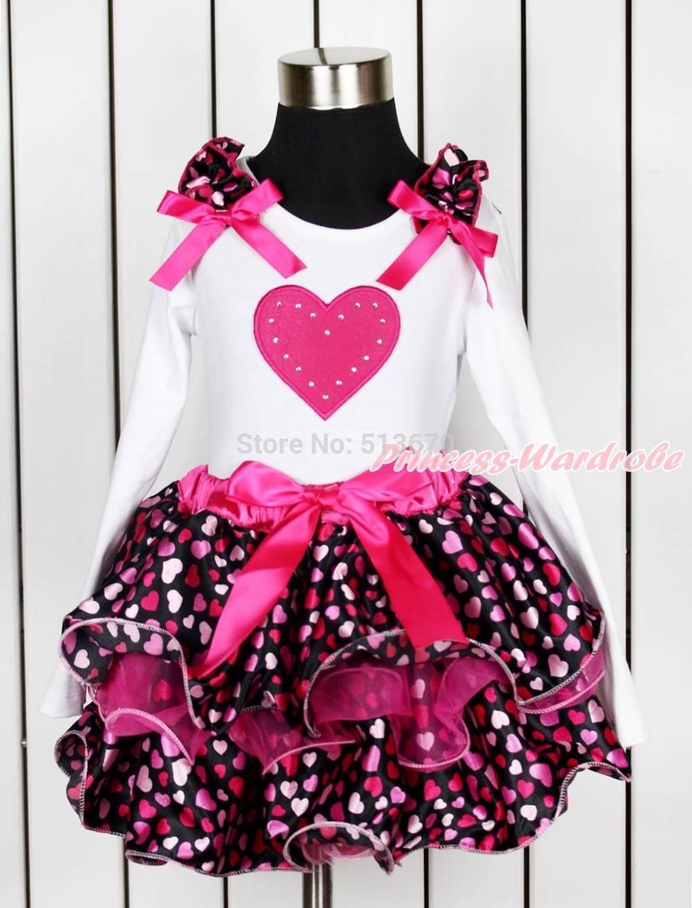 Valentine Hot Pink Heart Girl White Top Hot Pink Heart Petal Pettiskirt NB-8Year MAPSA0148(Hong Kong)