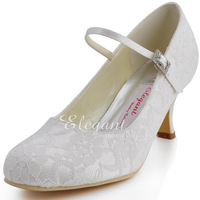 """Fashion  Shoes  Buckle  Wedding Bridal 2.5"""" High Heel Shoes EP1085  Round  Toe Lace Ladies Prom Shoes"""
