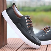 Winter casual shoes male the trend of black leather male low lacing shoes plus velvet cotton-padded shoes male