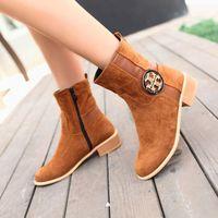 size 34-43 the 2014 new fashion martin boots heels round toe winter boots women botas femininas working women shoes