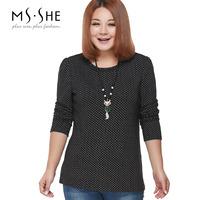 Msshe plus size clothing 2014 brief laciness sweet polka dot slim thermal 2395 basic shirt