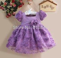 Free shipping NEW Fashion Children purple Girls Flower Dress Children Princess Party Dress girl s summer dress Kids Clothing