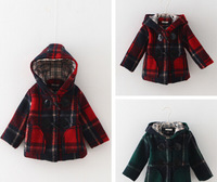 Retail 1Pc 2015 HQ New Kids Fashion Winter Coats Hooded collar Plaid Overcoat Children Thick Outerwear Girls Wool Jackets TZ49