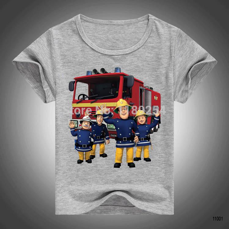 Promotion New Personalized Fireman Sam T Shirt Kid Animation Cartoon Printed Girls Shirts Boys Tops Children Clothing(China (Mainland))