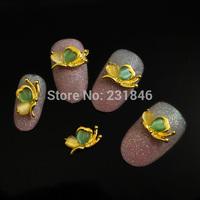 30pcs/lot 3D Golden Double Heart  Alloy Rhinestones Flat Back Nail Art Crafts Salon Tips DIY Accessories Phone Case Decorations