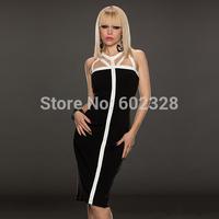 Free Shipping Women's Hollow Zipper Slim Evening Dress