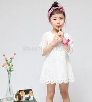 Korean fashion 2014 new white beautiful children clothing girls dress princess lace mini dresses  boy clothes free shipping
