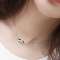 Hot sale all-match lovely women fashion zircon little panda pendant clavicle chain necklaces wholesale