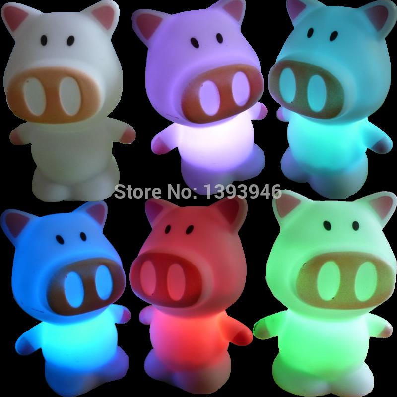 U119 Free Shipping Color Changing LED Xmas Mood Party Decoration Cute Big Nose Pig Night Lamp Light(China (Mainland))