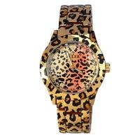 2015 NEW Sexy Gold-Tone LEOPARD-PRINT Metal Rhinestones Women's Fashion SPORT And Sparkle Dress Bracelet Wrist Watch three color