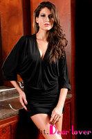 Low Cut Billow Dress Deep-v Neck Black / Purple LC2433 new style 2013 dress karen 2013
