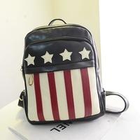 PU Leather US Flag Women Bolsas Mochilas Femininas American Flag Women Casual School Backpack Women Tablet Backpack