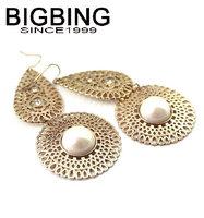 BigBing  jewelry fashion Golden hollow pearl earrings earrings dangle earring good quality  nickel free JA049