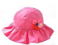 2015 New Children Caps Rose Red Color Hat Summer Sunbonnet  Bucket Colorful Flowers Girls Beach 5 Size  46cm,48cm,50cm,52cm,54cm