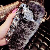 Hot !! Bling Diamond Rabbit Fur Fox Hard ABS Resin Case Cover Skin For Apple iPhone 6 Plus 5.5 inch