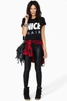 New Fashon 2015 Women Round Neck Short Sleeve NICE Letter Printed Black Shirt Summer Casual Cotton T-Shirt Plus Size