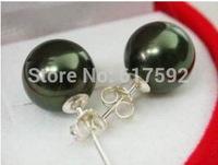10mm REAL black cultured pearl earrings 925 silver stud