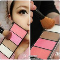 New Professional 4 Colors Makeup Blusher Contour Palette Facial Shadow Highlighter Cheek V Face Decorate matte powder blush