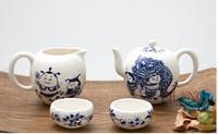 Taiwan Elong Ceramic tea cup set  blue and white porcelain tea Kung Fu tea set creative teapot tableware