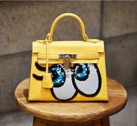 2014 Fashion Brand SpongeBob Shoulder Bag Women Pu leather Crossbody Handbag with Lock Cute Small Purse Free Shipping