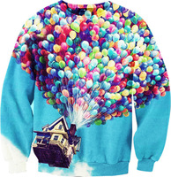 2015 Real Rushed Freeshipping Chiffon Full Chandal Mujer Sweater of Digital Printing 3d Pixar Men Women Thin Section of Selling