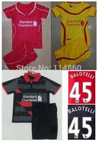 14/15 Liverpool kids home red away yellow soccer football jerseys  shorts kits, Liverpool children soccer shirt ,Youth uniform