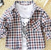 Female child plaid shirt long-sleeve male child 100% cotton shirt 1 - 3 years old baby shirt 2014 children's clothing