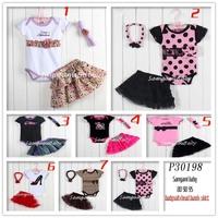 Baby clothing set baby 3pcs set  bodysuit+ hairband+skirt baby girl suits kids jumpsuit newborn outfits bodysuit