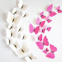 [Free shipping] New!DIY 12Pcs/Lot 3D blue Butterflies 3colors For Wall Art  Removable Home Decoration Beautiful Wall Sticker
