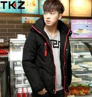 2014 new winter thick warm coat Korean casual men hooded jacket Slim XL padded jacket 00108