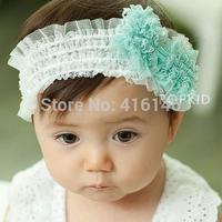 Children lace bow shape headband green
