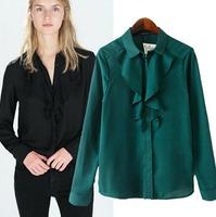 2015 European Style Women Shirt  Ruffles Green/Black Turn-down Collar Long Sleeve Spring Autumn Famous Brand Tops Blouse CL2301