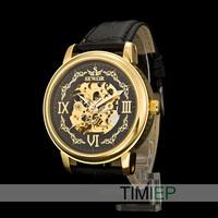Black Vintage Men's Mechanical Skeleton Hand Wind Watch Mens Dress Watches
