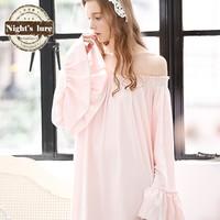 Wire summer new arrival vintage cotton noble princess sweet casual slit neckline short skirt sleepwear lounge