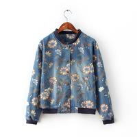 Stylish Sunflowers Print Girl Denim Jackets Long Sleeve Stand Collar Women Boutique All Match Coats NAS3995