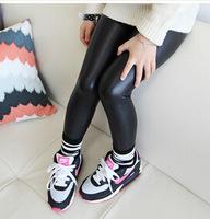 Retail new arrival girls autumn spring fashion black Matte leather pants kids korea design leggings 227