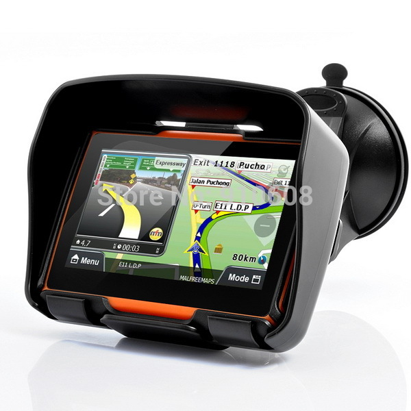 Free shipping Portable 4.3 inch Touch Screen Motorcycle bike car GPS Navigator System(China (Mainland))