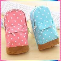 New arrival Cute Korea stationery big capacity pencil case Dot pattern wallet mini school bag shape for kids child Free shipping