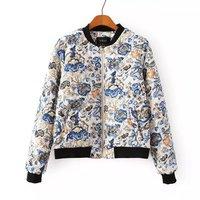 European Fashion Flowers Pattern Girl Cotton Coats Long Sleeve Stand Collar Women Sweet Jackets NAS3897