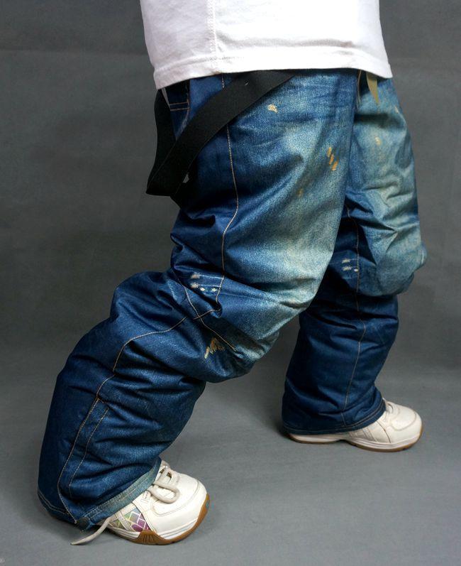 Preferential Snow Pants Men Denim Casual Ski Pants Waterproof Breathable 5000 Padding Warm Skiing Suspenders Pants(China (Mainland))